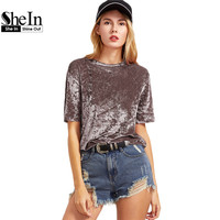 SheIn T Shirt Women Summer 2017 Womens Tops Coffee Short Sleeve Crushed Velvet T Shirt Casual