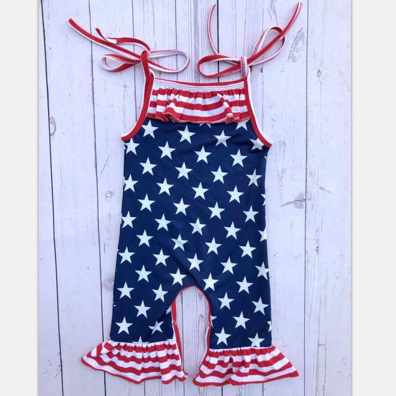 Младенческой малышей летние комбинезоны для малышек маленьких девочек арбуз Фламинго фермы Радуга Полосатый комбинированный купальник 4th июля патриотический праздник