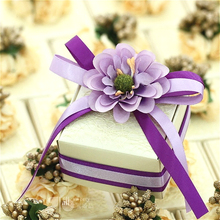 50psc Original Manual Custom Purple Milk White Beige Creative Quality Wedding Favors Candy Boxes Rocher Personality 6.5×6.5x4cm
