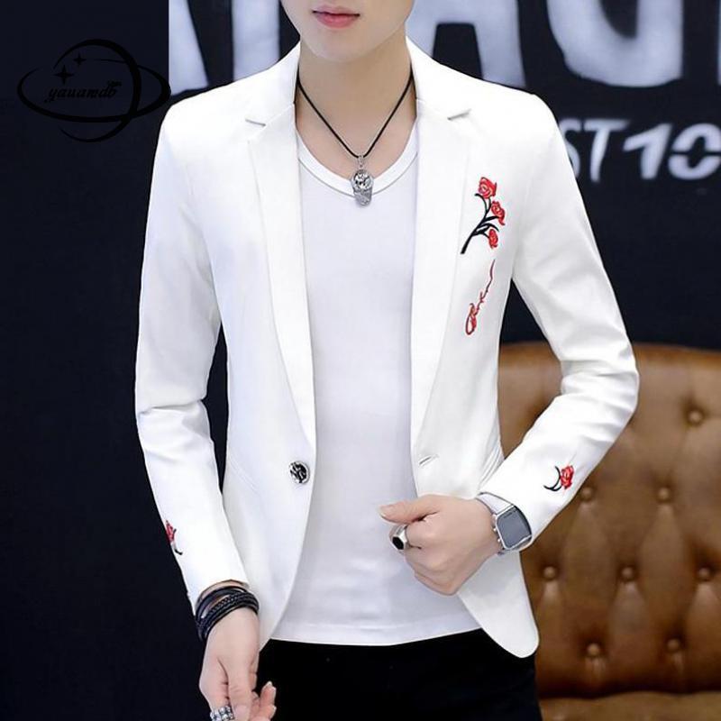YAUAMDB Men Blazer Spring Autumn Size M-2XL Male Embroidery Blazer Single Button Jacket Turn-down Collar Slim Coat Y80