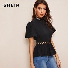 SHEIN Flutter Sleeve Circle Lace Insert Peplum Top Elegant Solid Stand Collar 2019 Summer Short Sleeve Women Blouses