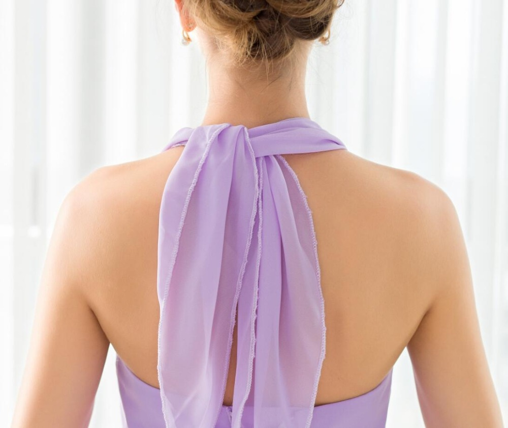 SHAMAI étage longueur licou robes de demoiselle d'honneur robe de mariée en Stock violet clair mousseline de soie à lacets nouvelles robes de demoiselle d'honneur - 2