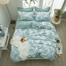 4PCs Bedding Set Pastoral Leaf Printing For Home Polyester Simple Geometric Pattern Bedclothes