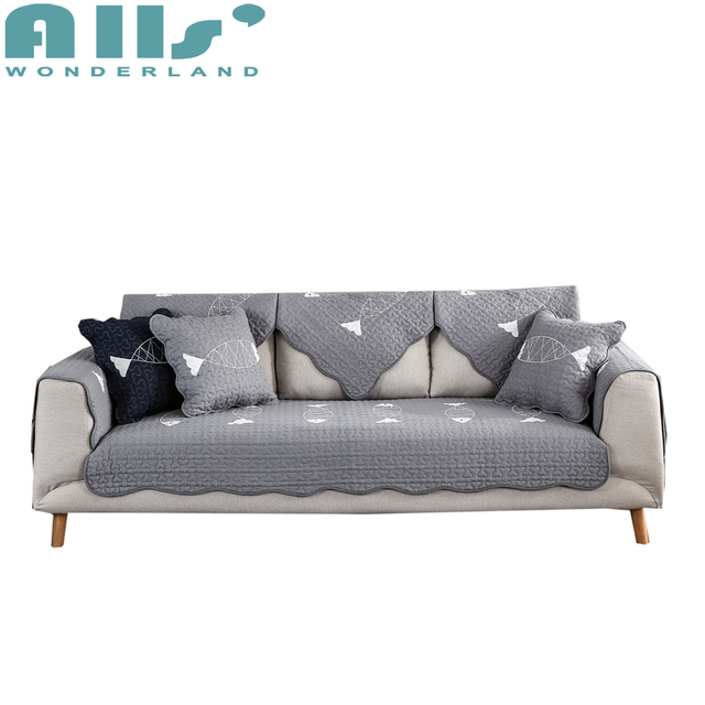 Perfect 1pc Furniture Covers For Couches Grey Sofa Slipcover Fish Pattern Cheap  Sectional Sofa Cover 100%