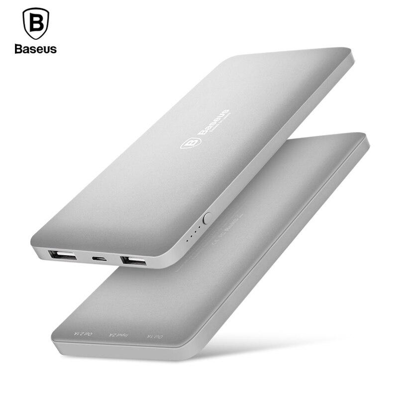 imágenes para De Baseus 10000 mAh Dual USB banco Portable de la Energía Del Teléfono Móvil Cargador de Batería Externa Para el iphone 7 6 s samsung S8 huawei xiaomi