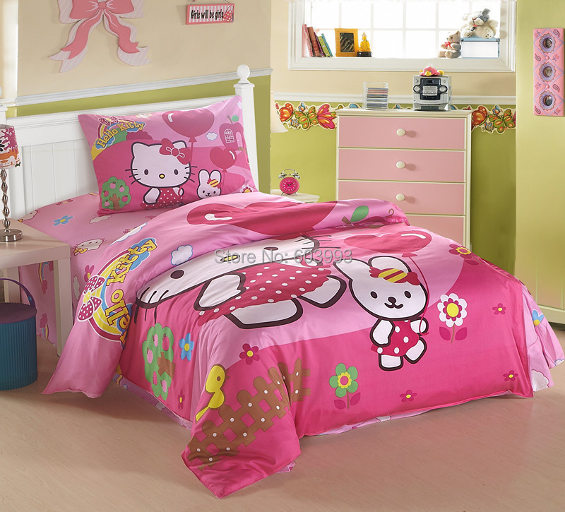 Kids Comforter Set Cartoon Pooh Patter Bedding Set For Child Full Size  Cotton Bed Sheet Set Wholesale 3 Pieces Bedding Set In Bedding Sets From  Home ...