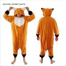 Halloween Pyjamas  Autumn And Winter Animal Cartoon Flannel Yellow Fox Onesie Lovers Pajamas Adult Sleepwear Sleepsuit Homewear