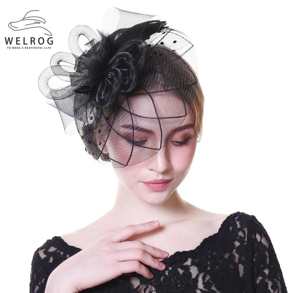 2c1ff1805c333 ... WELROG Fascinators Hat Women Flower Mesh Ribbons Feathers Fedoras Hat  Headband or a Clip Cocktail Tea ...