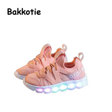 Bakkotie 2017 New Spring Autumn Girl Casual Sport Light Shoes White Boy Leisure Glowing Sneaker Pink Brand Breathable Black