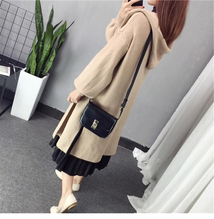 Autumn Winter Women Long Cardigans Hooded Sweaters Casual Knitted Outwear Puff Sleeves for Fashion Girls Female Warm Clothing (11)