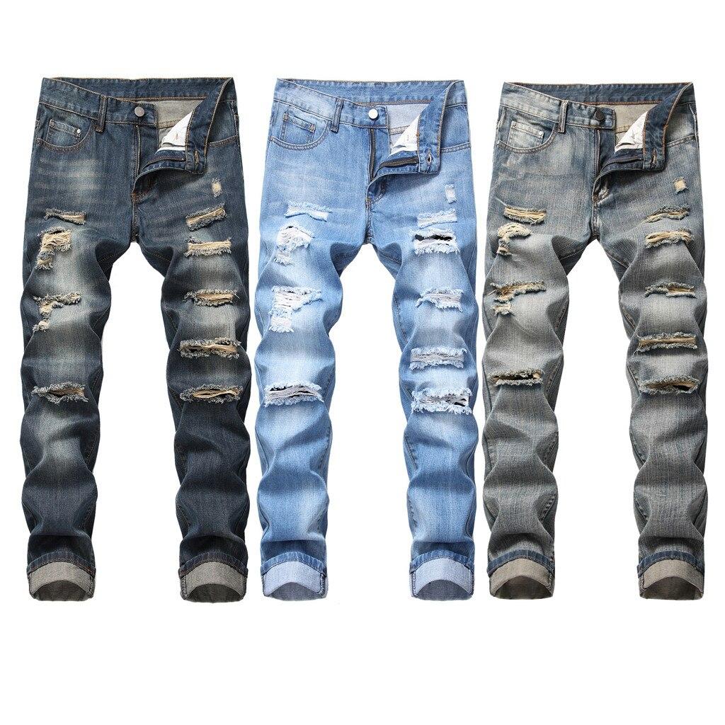 Pant Jeans Skinny Cartoon-Style Denim Trousers Slim-Fit Vintage Zipper Men's Fashion