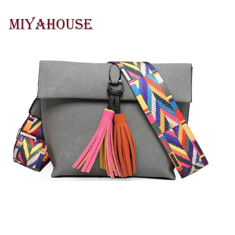 Miyahouse Women Scrub Leather Design Crossbody Bag Girls With Tassel Colorful Strap Shoulder Bag Female Small Flap Handbag miyahouse fashion colorful tassel design messenger bag women double zipper small shoulder bag female canvas lady flap bag