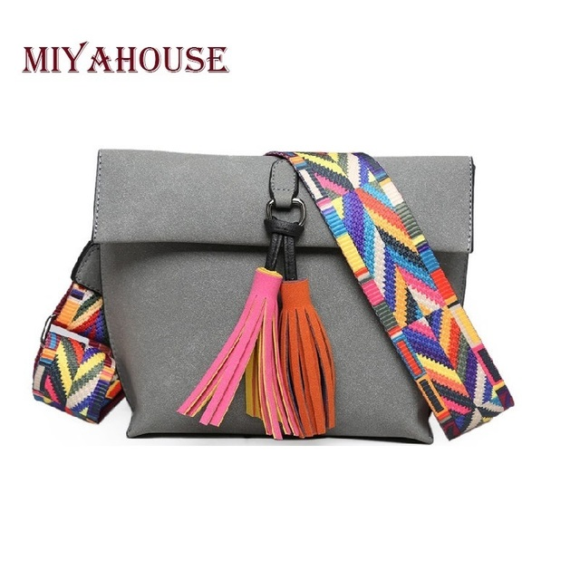 Miyahouse Women Scrub Leather Design Crossbody Bag S With Tassel Colorful Strap Shoulder Female Small