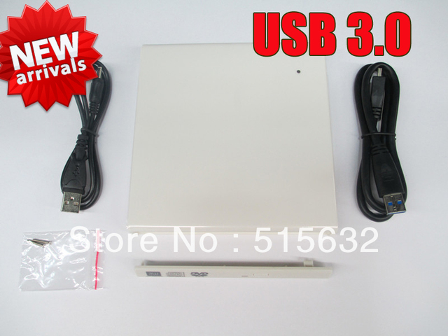 new USB 3.0 Super speed External Slim CD/DVD Drive Enclosure Case For Laptop Notebook CD-RW DVD Drive WHITE