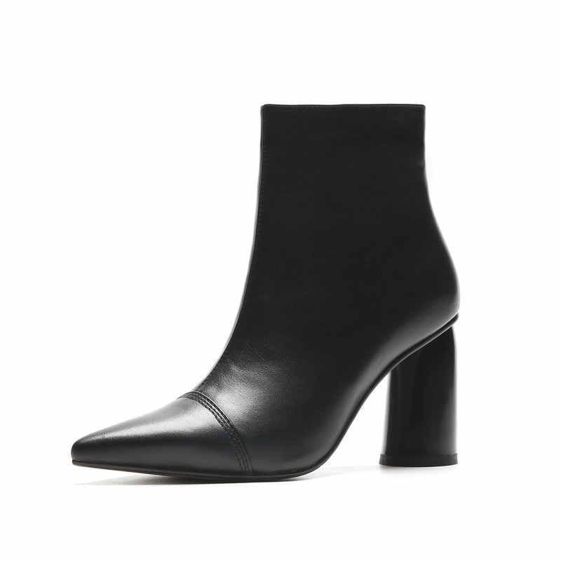 Frauen Aus Echtem Leder stiefeletten Partei Schuhe Frau High Heels Kurze Damen Schuhe Weibliche Herbst Winter warm schnee Stiefel