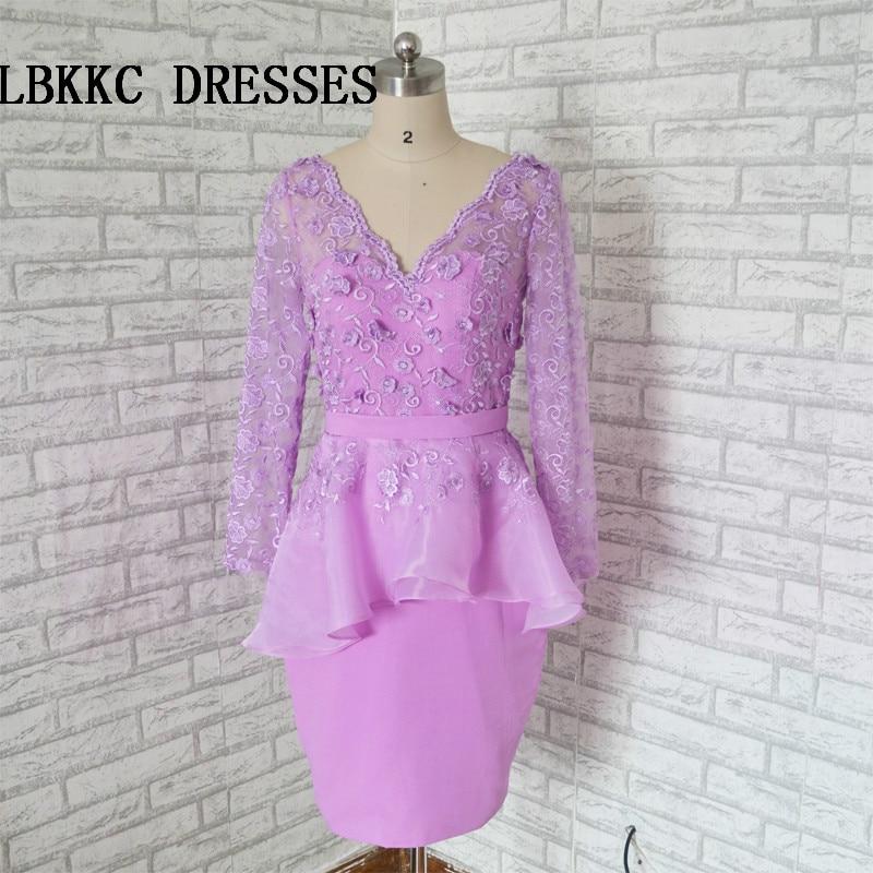 Сирень Коктейльные платья по колено короткое платье; элегантный с кружевом официальная Вечеринка платье