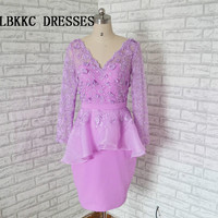Lilac Champagne Cocktail Dresses Knee Length Short Dress Elegant With Lace Formal Party Dress