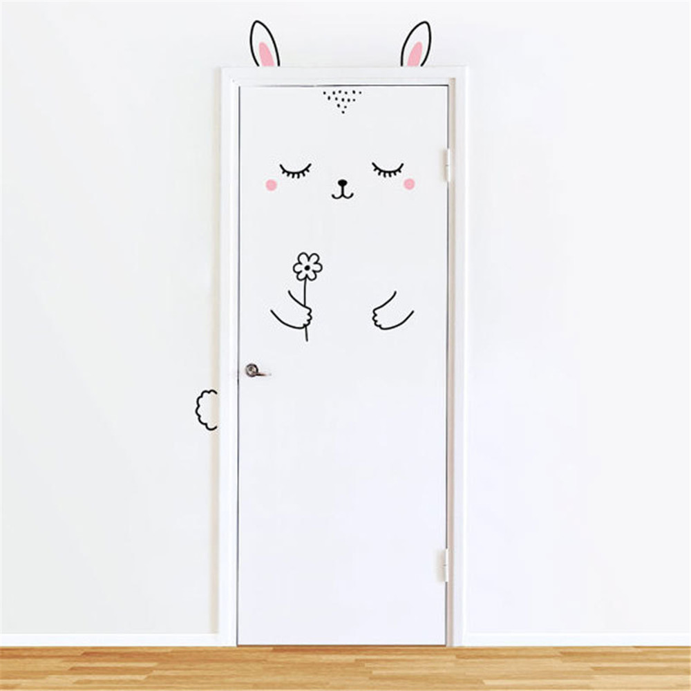 3D Wall Stickers Kids Rooms Door Sticker Nordic Style Rabbit Hedgehog Monkey Home Decoration Refrigerator Removable Art Poster