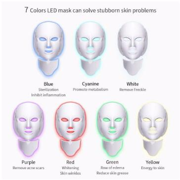 7 Colors Light LED Facial Mask With Neck Skin Rejuvenation Face Care Treatment Beauty Anti Acne Therapy Whitening