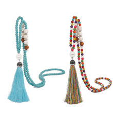 Bohemian Boho Ethnic Pearl Zircon Pave Tassel Necklace Handmade Wood Bead Nature Stone Long Sweater for Women