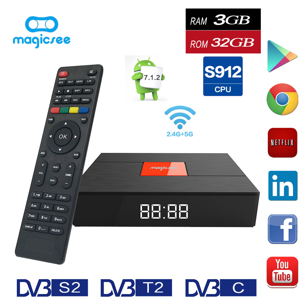 Magicsee C400 Plus Hybird DVB-S2/T2 DVB-C TV Box Amlogic S912 Android 7.1.2 3 gb RAM 32 gb ROM set Top Box Dual WiFi Media Player