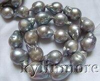 14x21MM Grey Nucleated Flameball Baroque Pearls Bead 15.5