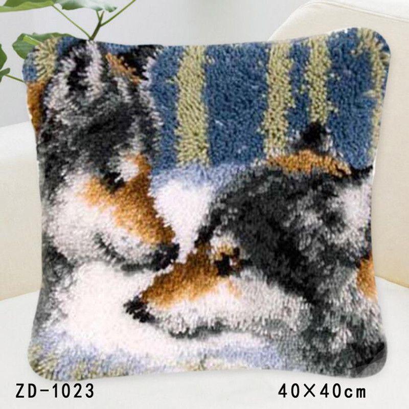 Animals Pillowcase Latch Hook Rug Kits Needlework Embroidery Pillow Wolf Handwerken Knooppakket Tapestry Canvas Cushion Kit