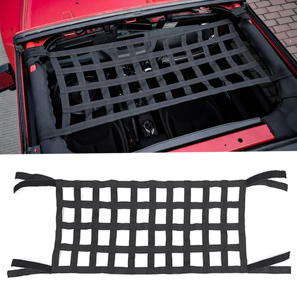 Heavy Duty Cargo Net Car Top Roof Hammock Bed Rest Storage Network Cover For Jeep Wrangler JK 2007 Up Exterior Accessories Cover (3)