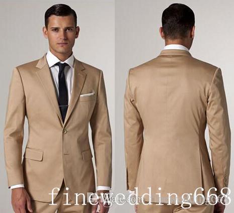 New Style Two Button Khaki Groom Tuxedos Groomsmen Mens Wedding ...