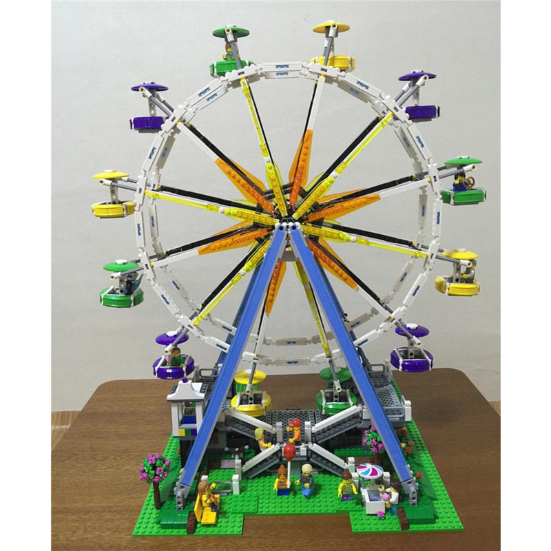 Lepin 15012 2518PCS Ferris Wheel Construction Sets Model Building Kits Blocks Bricks Toys For Children Compatible With 10247 lepin 15012 2478pcs city series expert ferris wheel model building kits blocks bricks lepins toy gift clone 10247