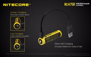 Image 3 - 1 قطعة NITECORE NL1475R المدمج في مايكرو منفذ شحن USB Battries 750mah 14500 بطارية قابلة للشحن 3.6V الناتج 2A تحديث NL147