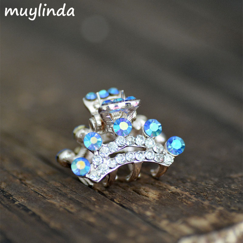 2.5 cm Fashion Rhinestone Mini Crown Hair Claw Women Small Metal Hair Clip Accessories