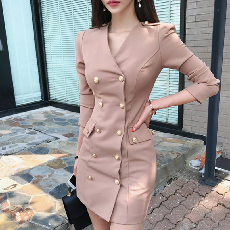 <font><b>2018</b></font> <font><b>Autumn</b></font> <font><b>Sexy</b></font> V-neck Women Dress Full Sleeve Double Breasted Pencil Dress Female Bodycon Mini Party Vestidos high quality image