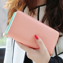 2016 Hot Fashion 7 Colors PU Leather Long Wallets Women Wallets Portable Casual Lady Cash Purse Card Holder Gift