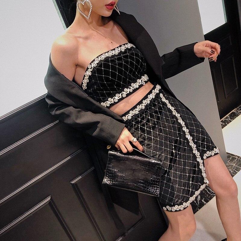 Automne Jupe Femme Streetwear Printemps Diamants Femmes Pour Tops Whitney Perles 2019 skirt Faldas Asymétrique Wang Mode Jupes qCw4nx6tz
