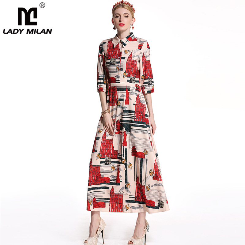 2018 Womens Turn Down Collar 3/4 Sleeves Floral Printed A Line High Street Long Dresses