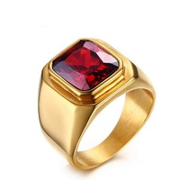 316L stainless steel gold ring inlaid with red stone jewelry net red ring male J236