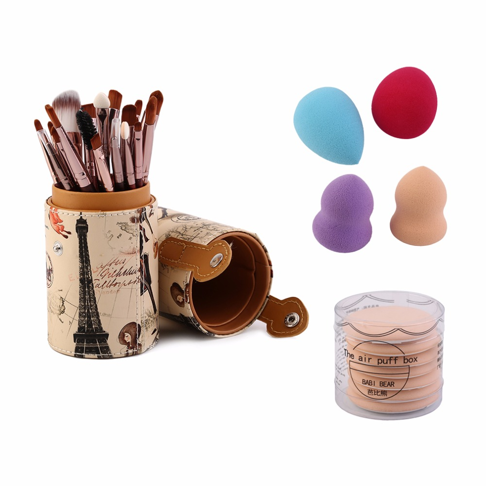2018 Professional Women Outdoor Travel Makeup Brush Sets 20pcs Makeup Brushes + 4 x Powder Puff + 7 x Air Puff + Container New bob cosmetic makeup powder w puff mirror ivory white 02