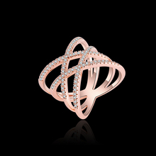 1pc 2017 Hot Sale AAA Zircon Mosaic Neon Staggered Ring European Fashion Women Ring Dress Evening Accessories Ring Gifts P20