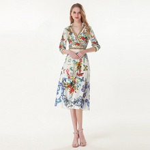 High quality diamonds V neck dress New 2019 spring summer runways butterfly floral print dress A158