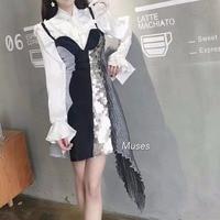 Corea moda chic nueva primavera y el verano de una sola pieza de lentejuelas vestido negro plata correa de espagueti del remiendo