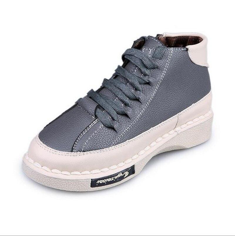 2016 New Arrive autumn high-top Women Shoes Grey Black Platform shoes fashion Flats Ladies huarche obuv Schuhe