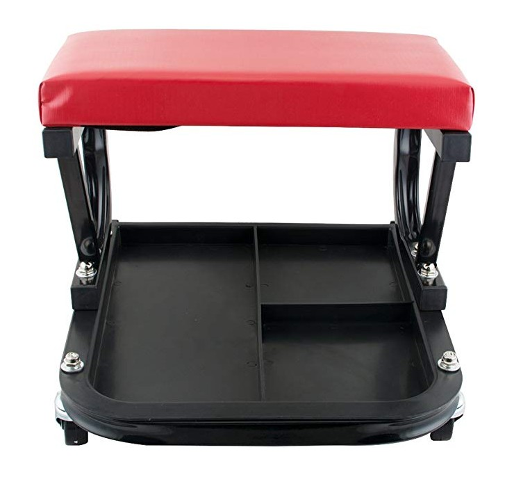 Adjustable Rolling Mechanic Seat Creeper Pneumatic Padded Chair with Tray for Repair Shop Garage
