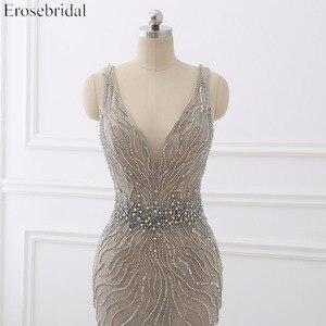 Image 5 - Erosebridal Meerjungfrau Abendkleid Lange 2020 Licht Grau Perlen Luxus Lange Formale Kleid mit Zug Open Back Lange Abendkleid