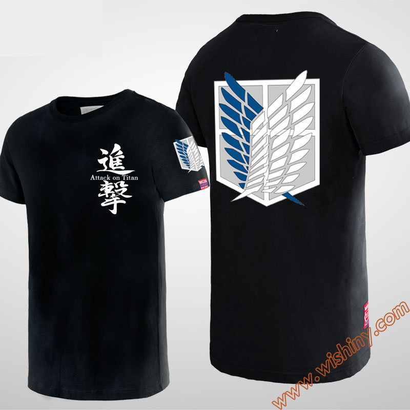 Quality Attack on Titan T-shirt  Men Boy Youth 100% Cotton Plus Size Black Yellow T-Shirts
