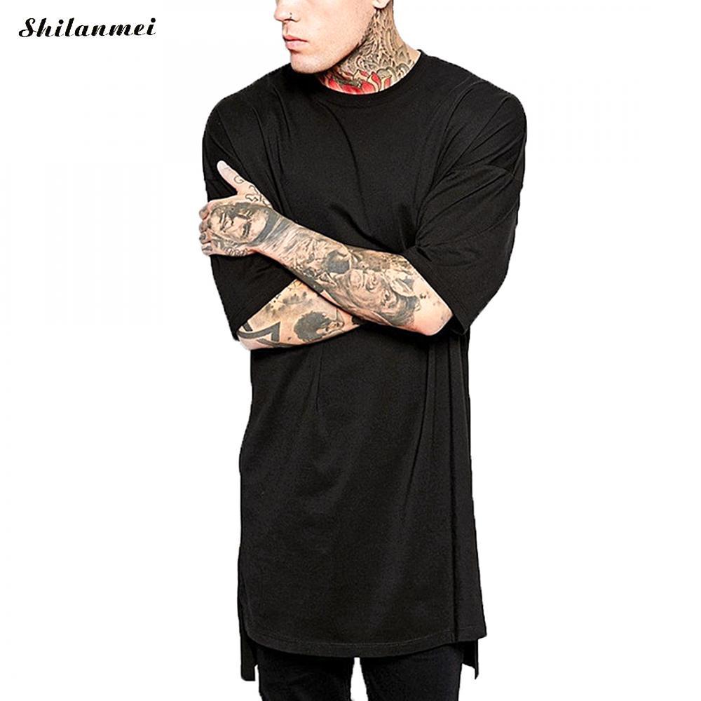 2018 T de Hip Hop Dos Homens Oversize Camisetas Preto Branco Sólida assimétrica Longa T Shirt da Forma Camiseta Homme Camisetas Hombre