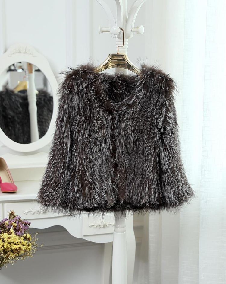 2015 New Arrival 100% Natural Silver Fox Fur Knitted Coat, Women's Real Fox Fur Outerwear SU-1521 EMS Free Shipping 11