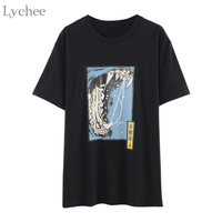 Lychee Harajuku Punk Summer Women T Shirt Chinese Beast Print Casual Loose Short Sleeve T Shirt