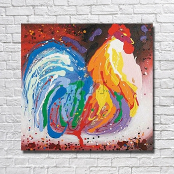 Canvas Chicken  Oil Painting Home Decor Living Room  Decor Fine Art  Pictures With Framed Painting Ready to Hang Artwork