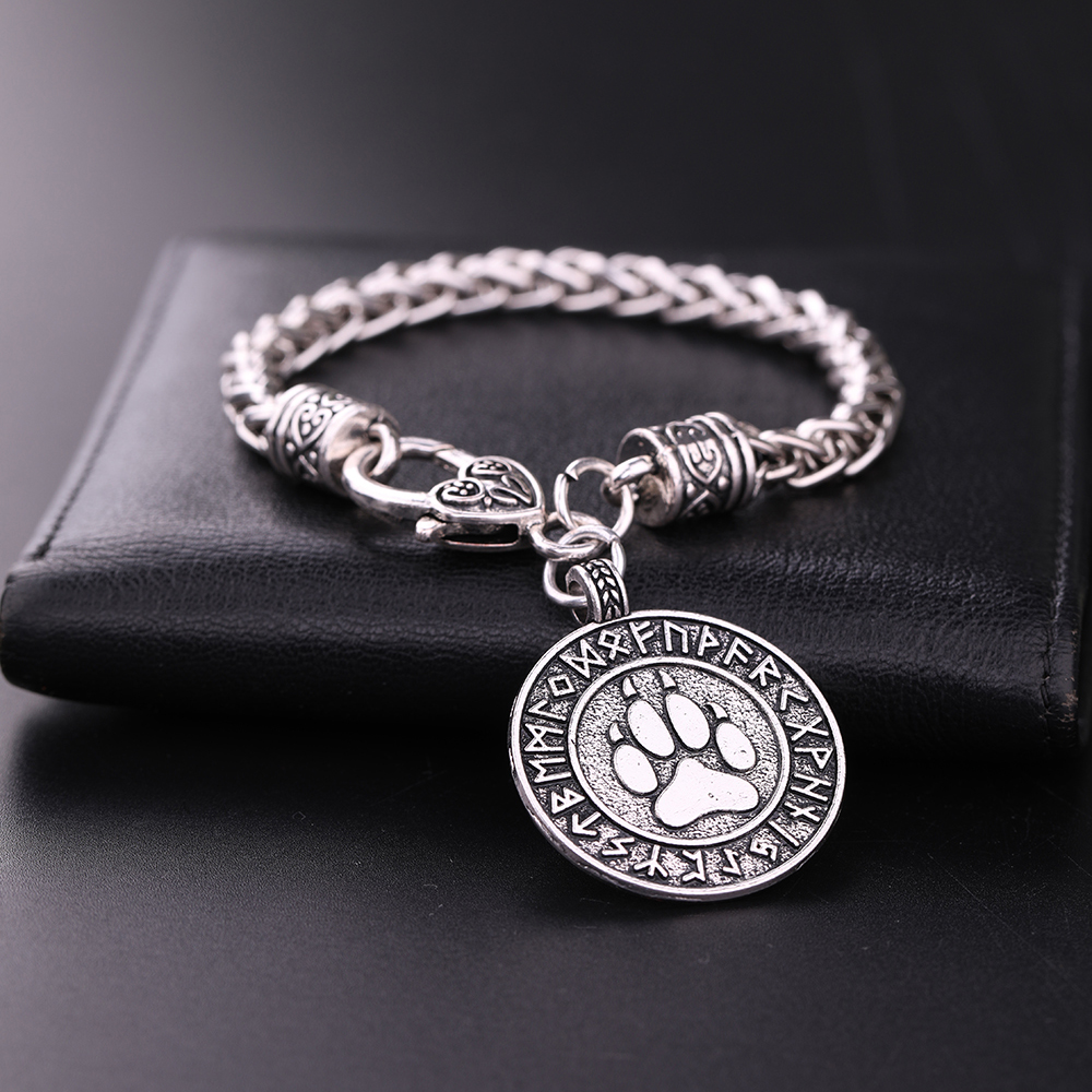 my shape <font><b>Dog</b></font> Paw Pendant Norse Runes Viking Jewelry Talisman for Mens <font><b>Bracelets</b></font> Slavic Pawprint Women Fashion Bangles image
